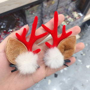 Christmas Hair Pin Clip w/ Deer Antlers & Faux Fur